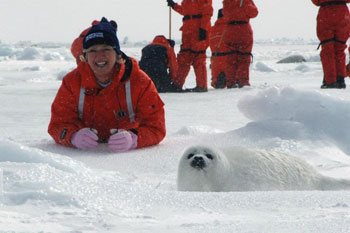 Cathy Kangas with seal pup